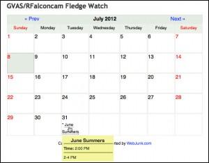 Fledge Watch Calendar