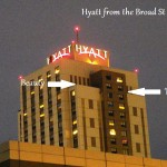 The Hyatt - Where Beauty and Tiercel were as it got dark. 2/25/13