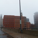 Rainy and Foggy Downtown Broad St Looking West 12-22-13