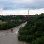 Raging Genesee River Looking north from the Pedestrian Bridge 7-28-14