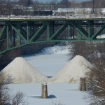 Snow Piles Below the Smith St Bridge 2-22-15
